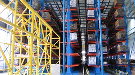 佛山悬臂式货架,堆放铝合金型材的仓库货架【易达货架】