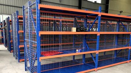 广西中量型搁板式货架增加网格板的好处【易达货架】